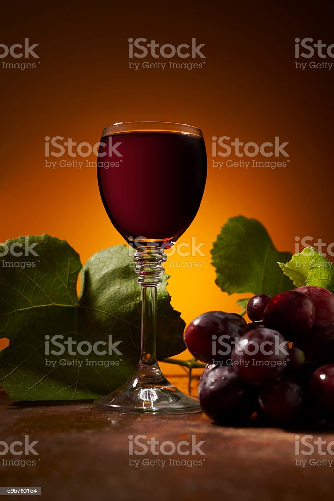 vine and wine on the table stock photo