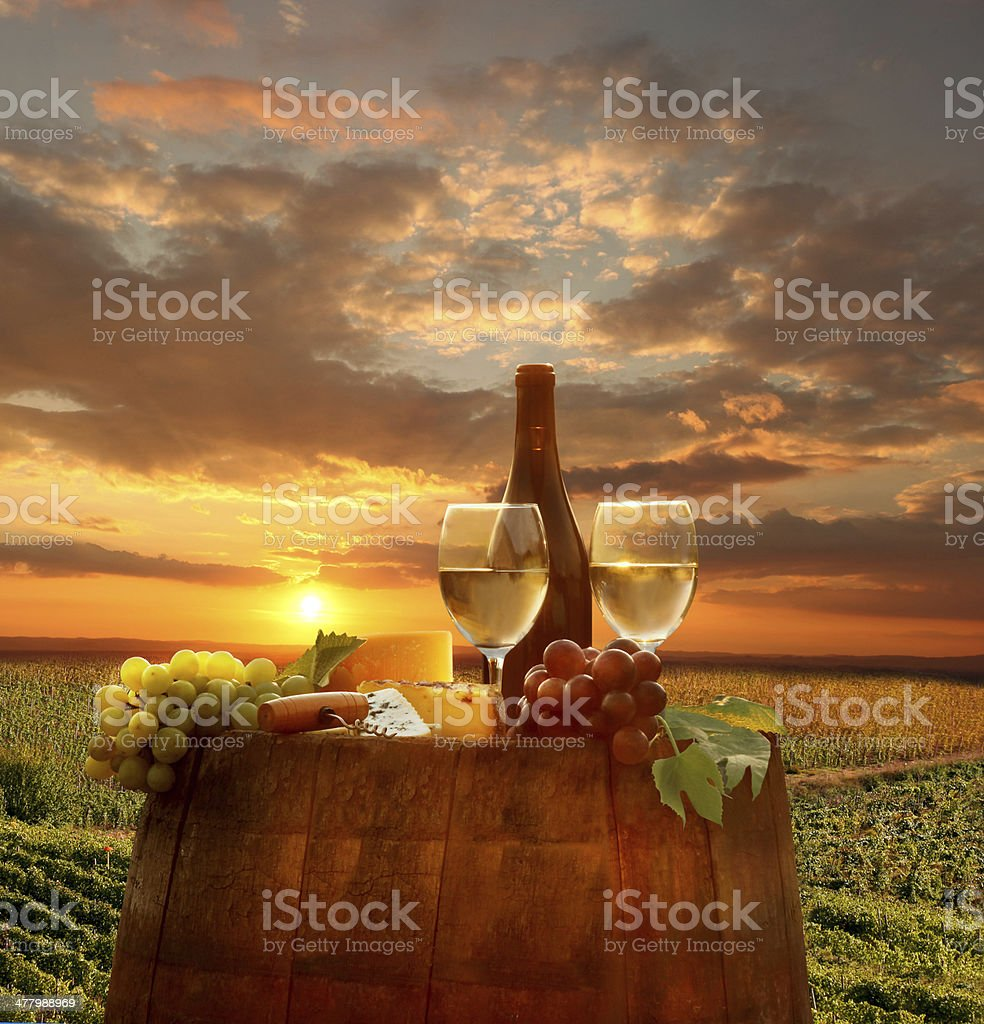 Vine landscape with wine still-life in Chianti, Tuscany, Italy royalty-free stock photo