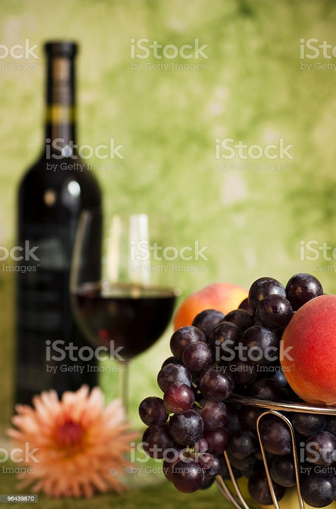 Vine with red grapes and flower royalty-free stock photo