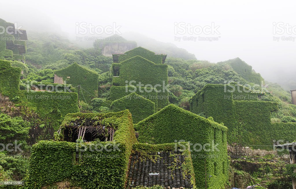 Vine-covered village unmanned stock photo