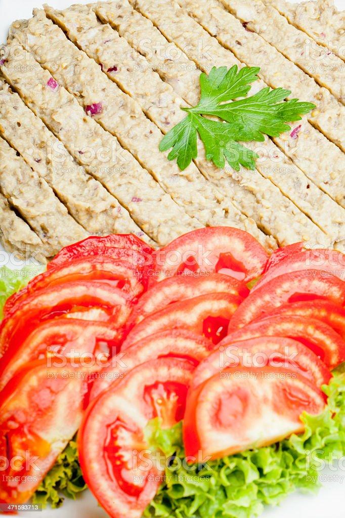 Vinegar salad garnished with tomatoes stock photo
