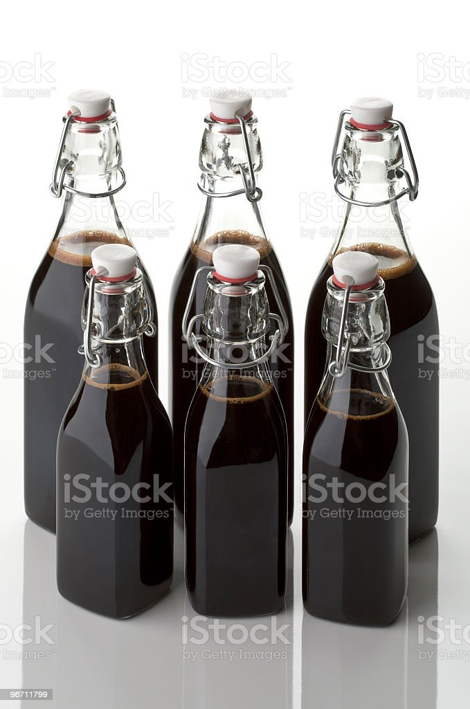 vinegar six bottles royalty-free stock photo