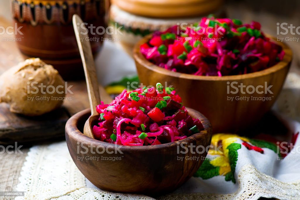 vinegret ,traditional Russian and the Ukrainian vegetable salad with beet. stock photo