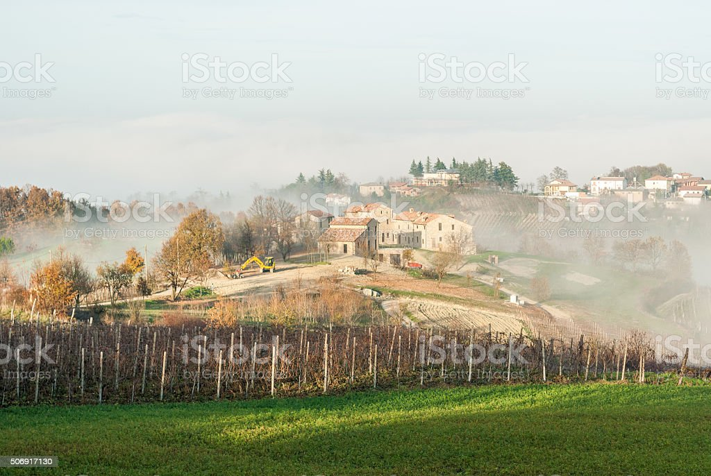 Vineyards and a farmstead in the hills of Oltrepò Pavese stock photo
