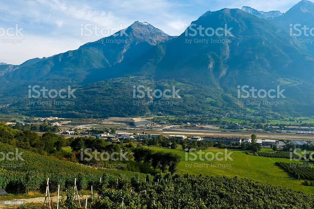 Vineyards located in Aosta Valley with mountains in the background stock photo