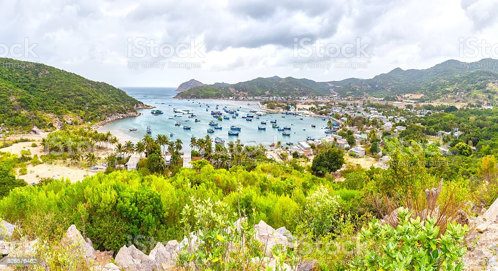 Vinh Hy Bay panoramic view from above stock photo