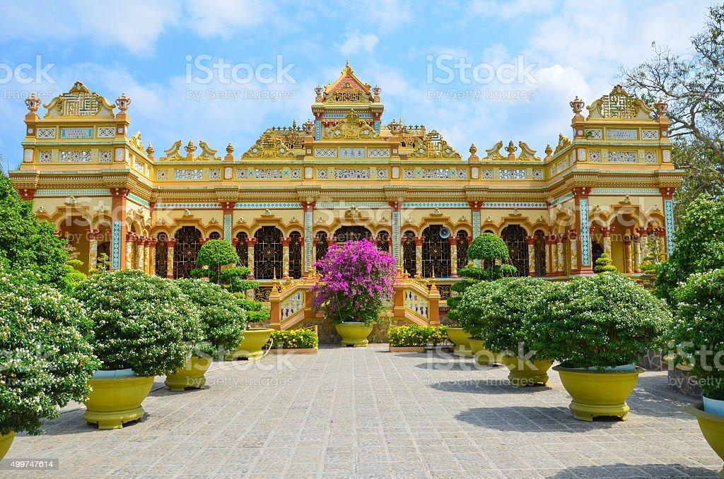 Vinh Trang pagoda, My Tho, Vietnam stock photo