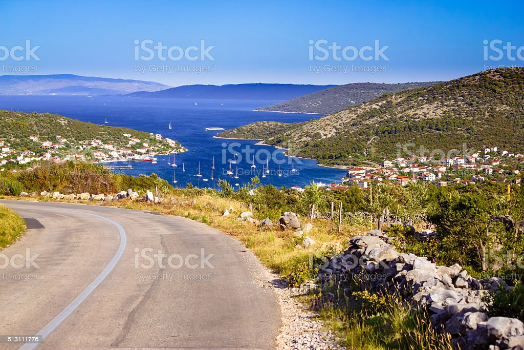Vinisce village bay and waterfront view stock photo