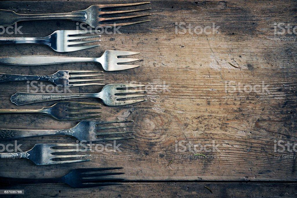 Vinitage forks background stock photo