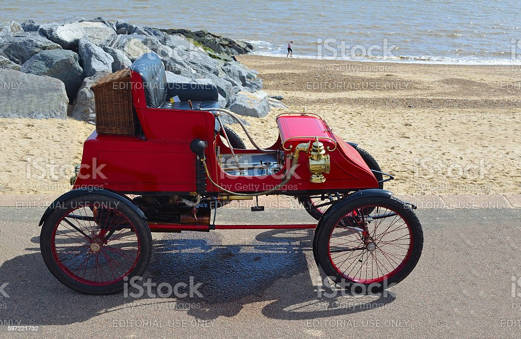 Vintage 1902 Stanley CX Steam Car parked on seafront promenade . stock photo