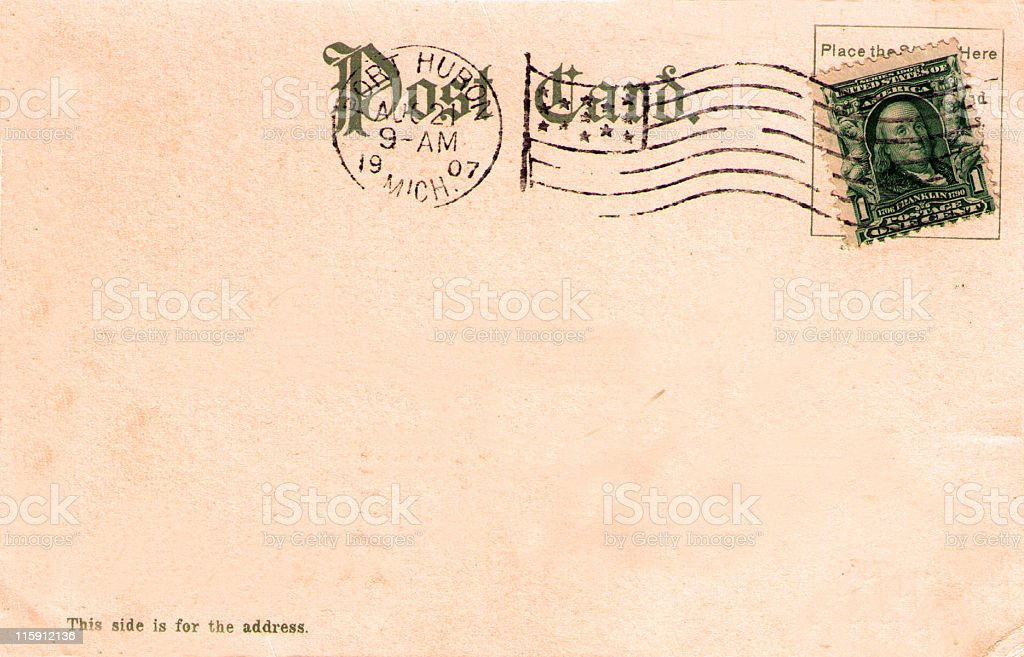 Vintage 1907 Postcard Back with United States Stamp stock photo