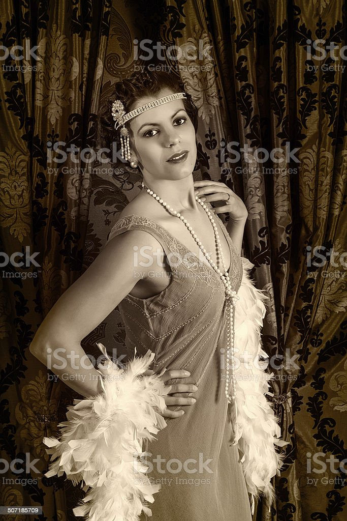 Vintage 1920s woman with boa stock photo