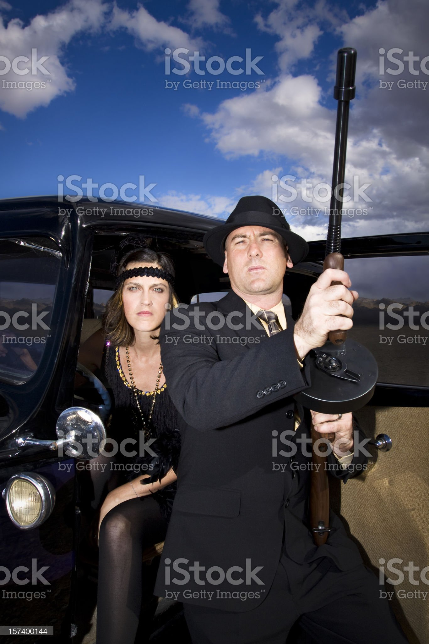 Vintage 1920's-1930's Gangsters Style Shot. royalty-free stock photo