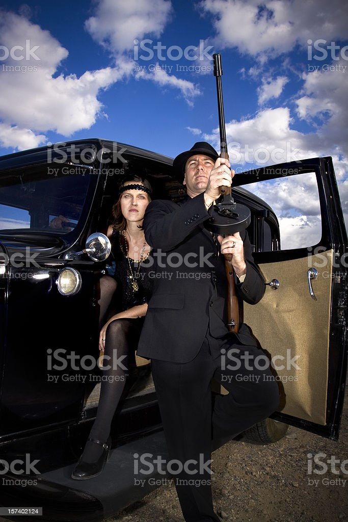 Vintage 1920's-1930's Gangsters style shot. stock photo