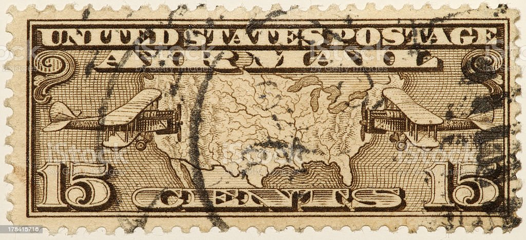 Vintage 1926 - 1927 US Air Mail Stamp royalty-free stock photo