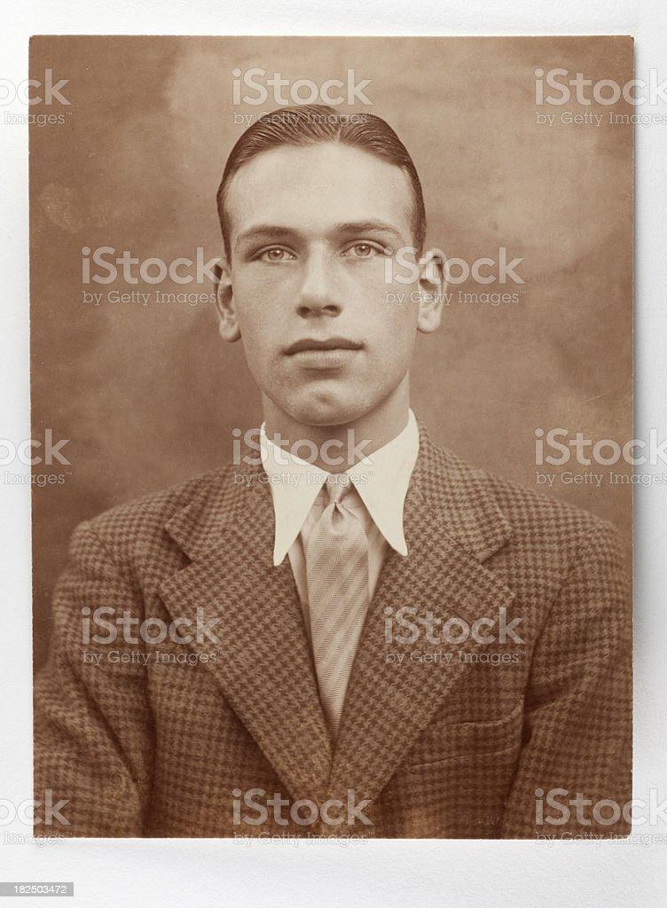Vintage 1930's Portrait of Man in Tweed Jacket royalty-free stock photo