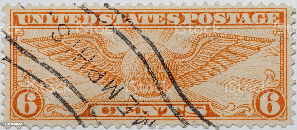 Vintage 1931 US Air Mail Stamp royalty-free stock photo