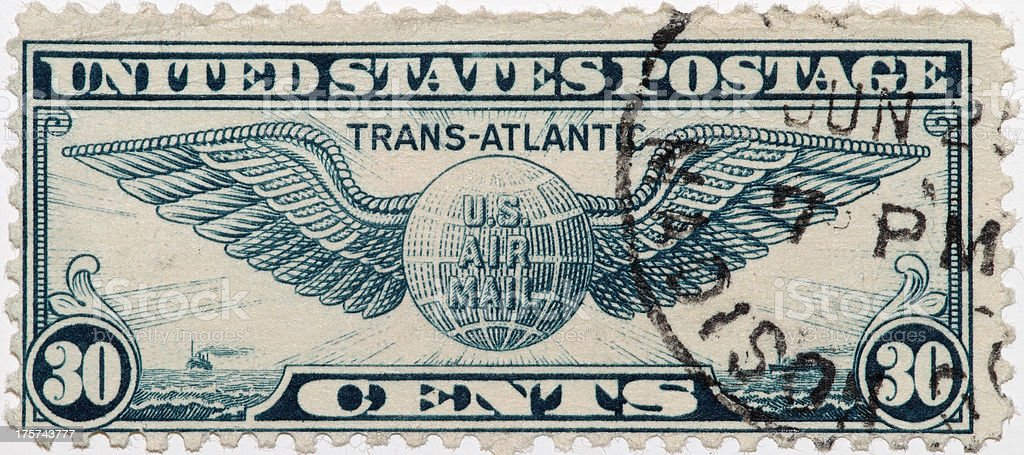 Vintage 1939 US Air Mail Stamp royalty-free stock photo