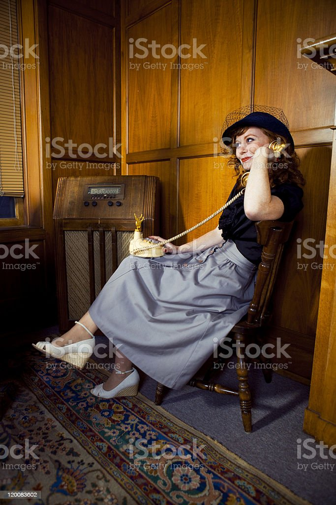 Vintage 1940s Office Worker on the Telephone royalty-free stock photo