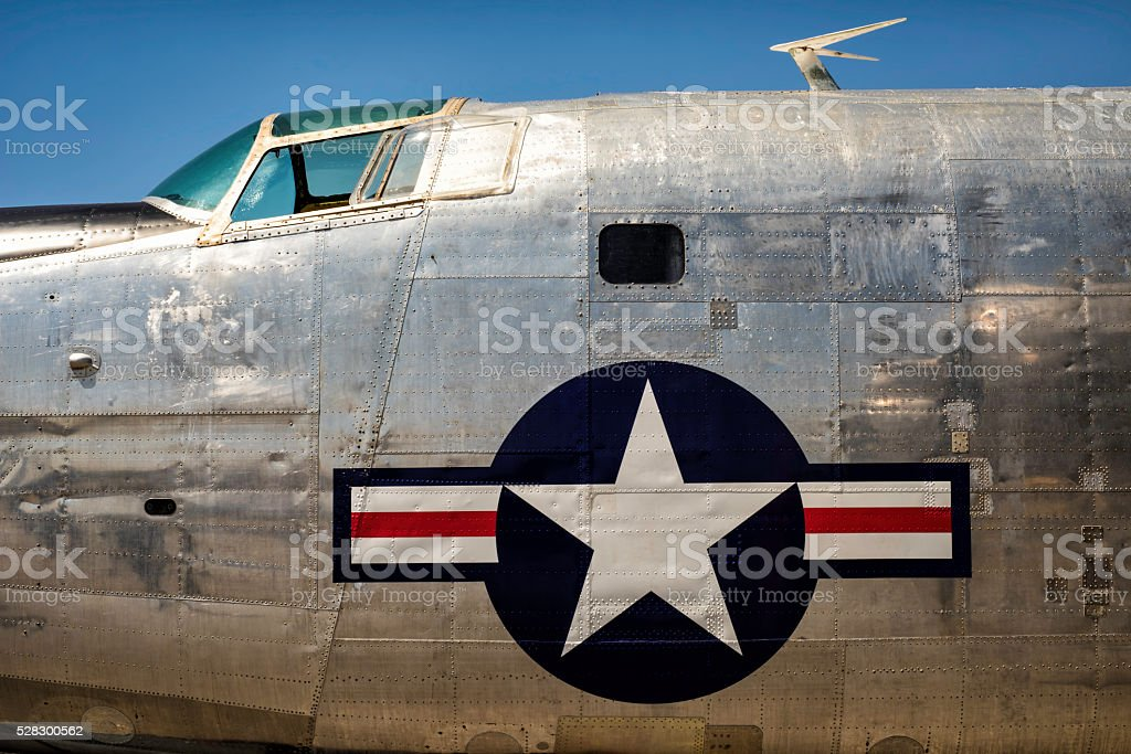 Vintage 1950's and 1960's American Bomber fuselage stock photo