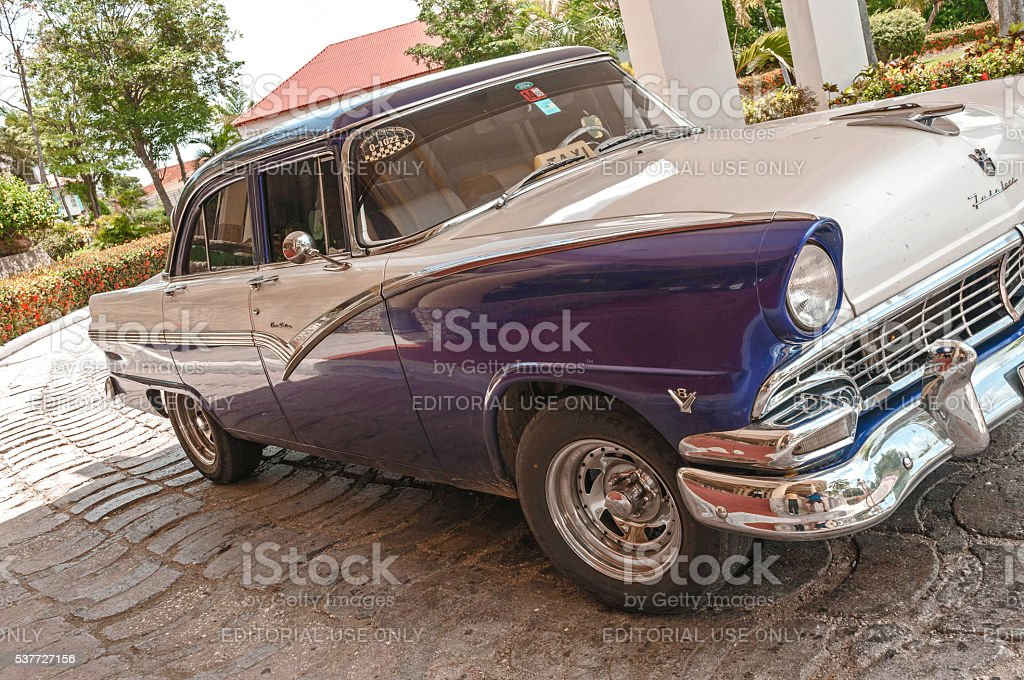 Vintage 1950's Classic American Cuban Taxi, Metallic Blue and White stock photo