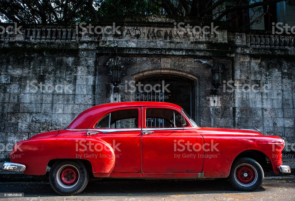 Vintage 1950s Red car stock photo
