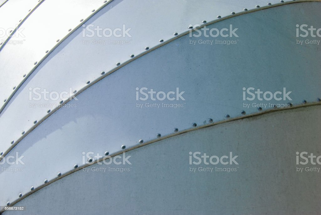 Vintage 1950s Trailer Aluminum Skin and Rivets stock photo