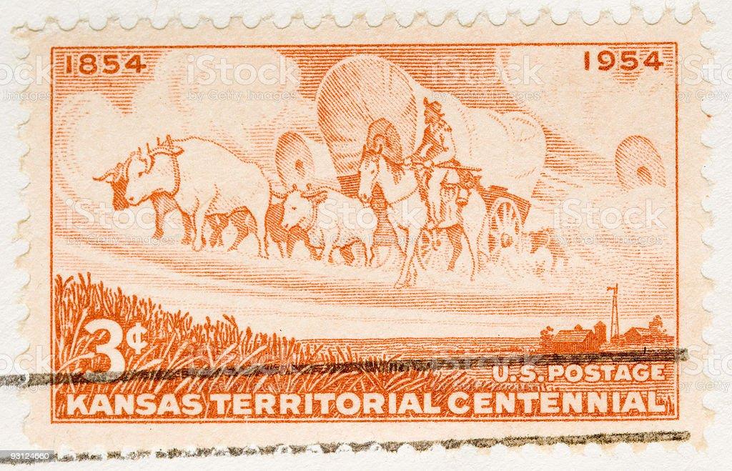 Vintage 1954 Postage Stamp Kansas Territorial Centennial stock photo