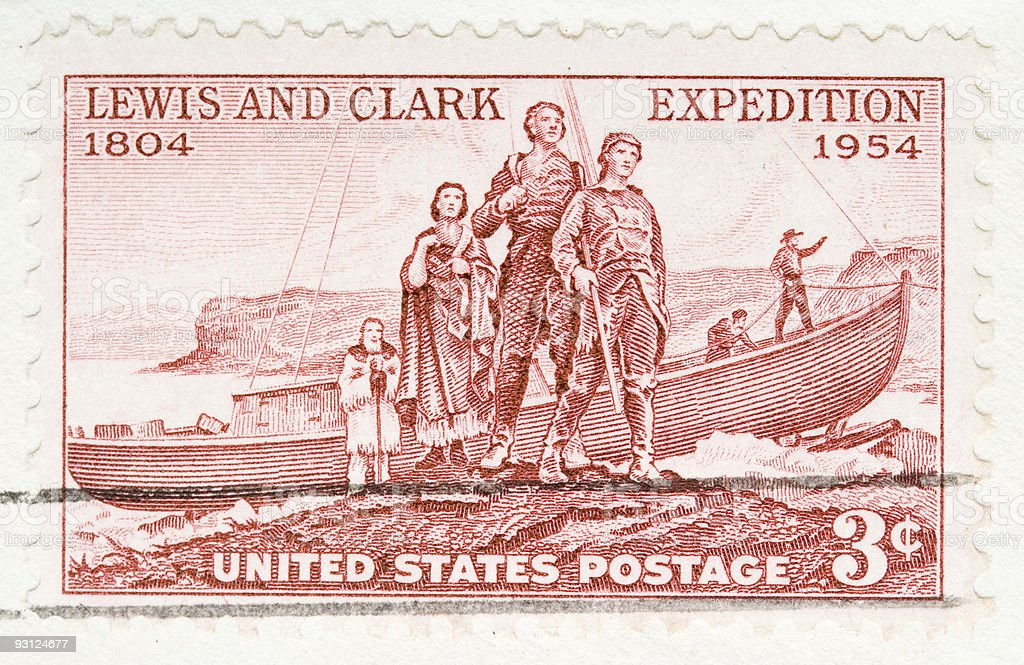 Vintage 1954 US Postage Stamp Lewis and Clark Expedition stock photo