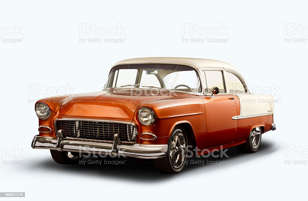Vintage 1955 Chevrolet Bel Air - White Background stock photo