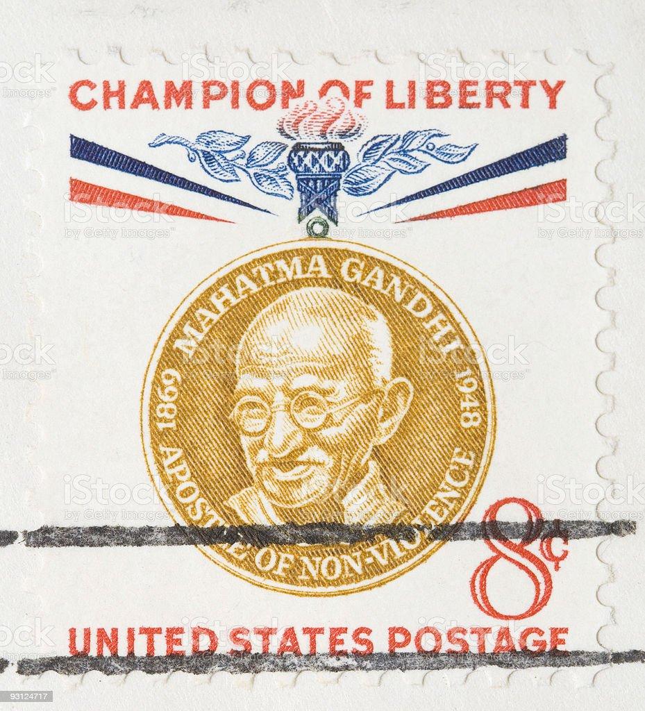 Vintage 1960 Stamp Mahatma Gandhi royalty-free stock photo