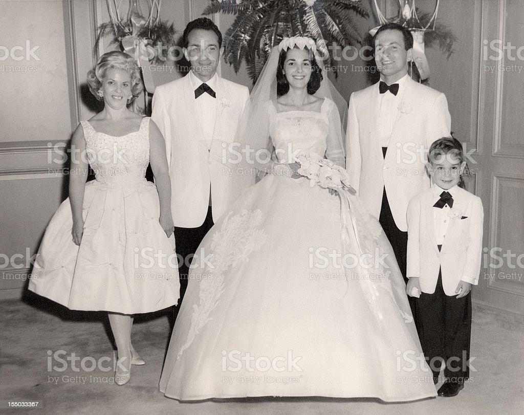 Vintage 1960 Wedding Family Portrait stock photo