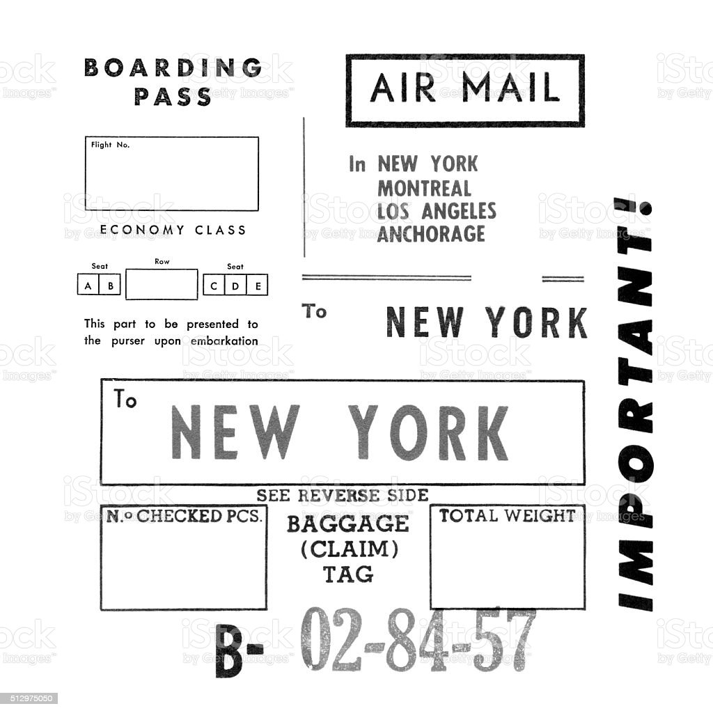 Vintage 1960s printed air travel related typography on white stock photo