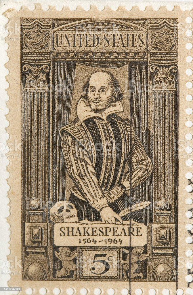 Vintage 1964 Shakespeare Stamp stock photo