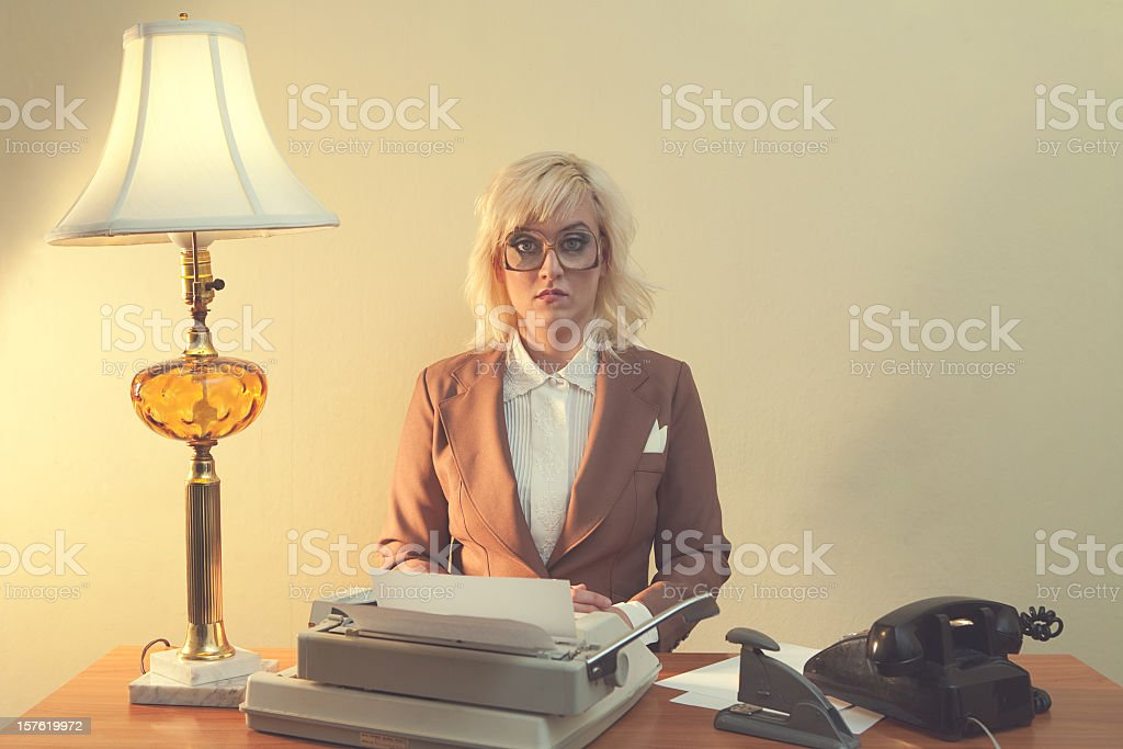 Vintage 1970's Secretary stock photo