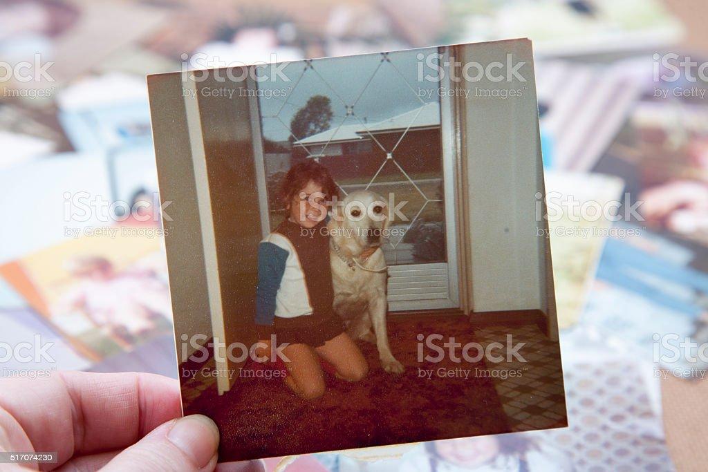 Vintage 1978 Photo With Dog stock photo