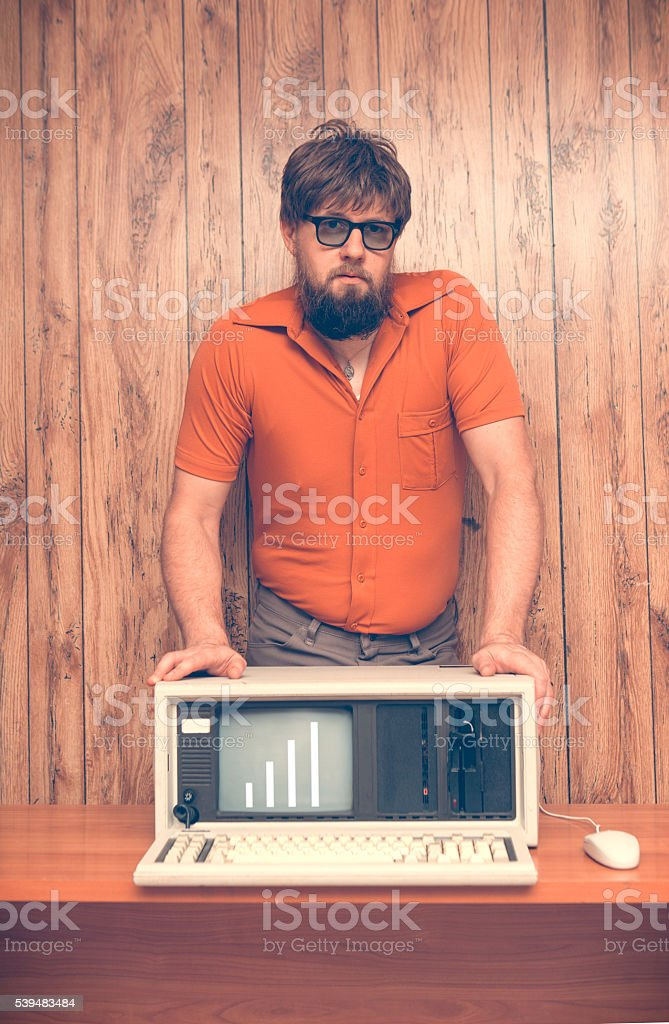 Vintage 1980s business man with sales going up stock photo