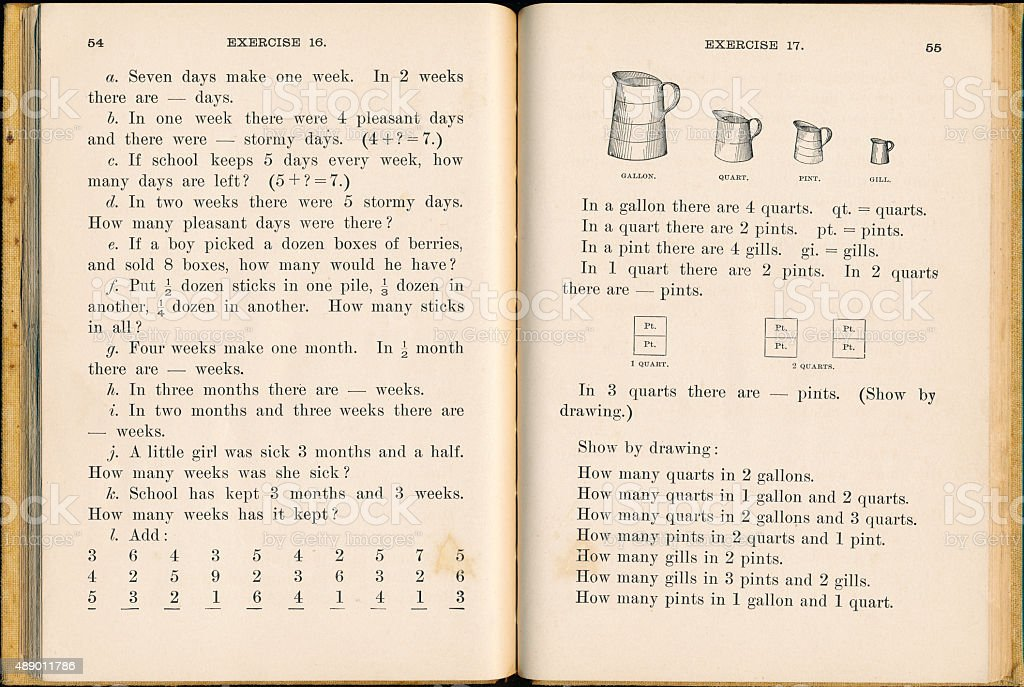 Vintage 19th century math book for first graders stock photo