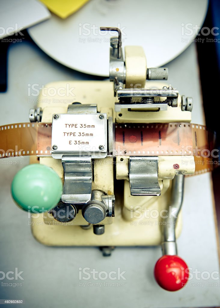 Vintage 35 mm movie splicer close up stock photo