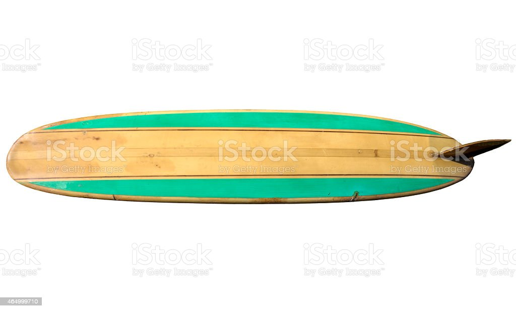 Vintage 60's Surfboard isolated on white stock photo