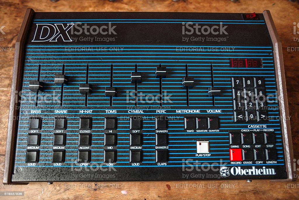 Vintage 80s drum machine Oberheim DX. stock photo