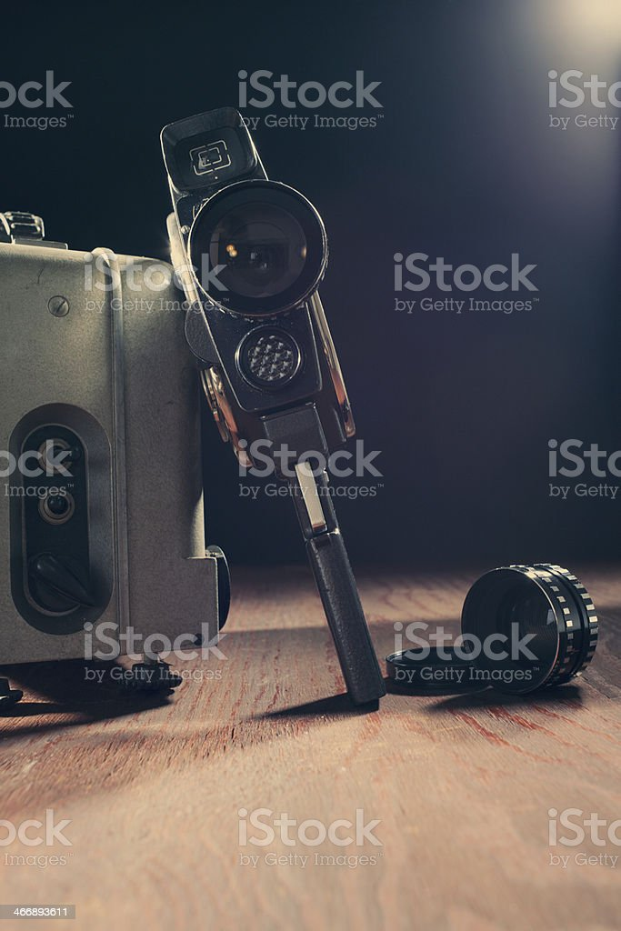 Vintage 8mm camera and projector stock photo