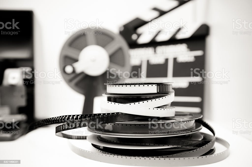 Vintage 8mm movie editing desktop in black and white stock photo