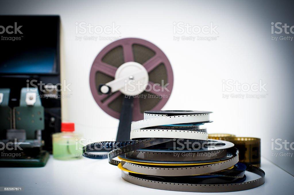Vintage 8mm movie editing desktop stock photo