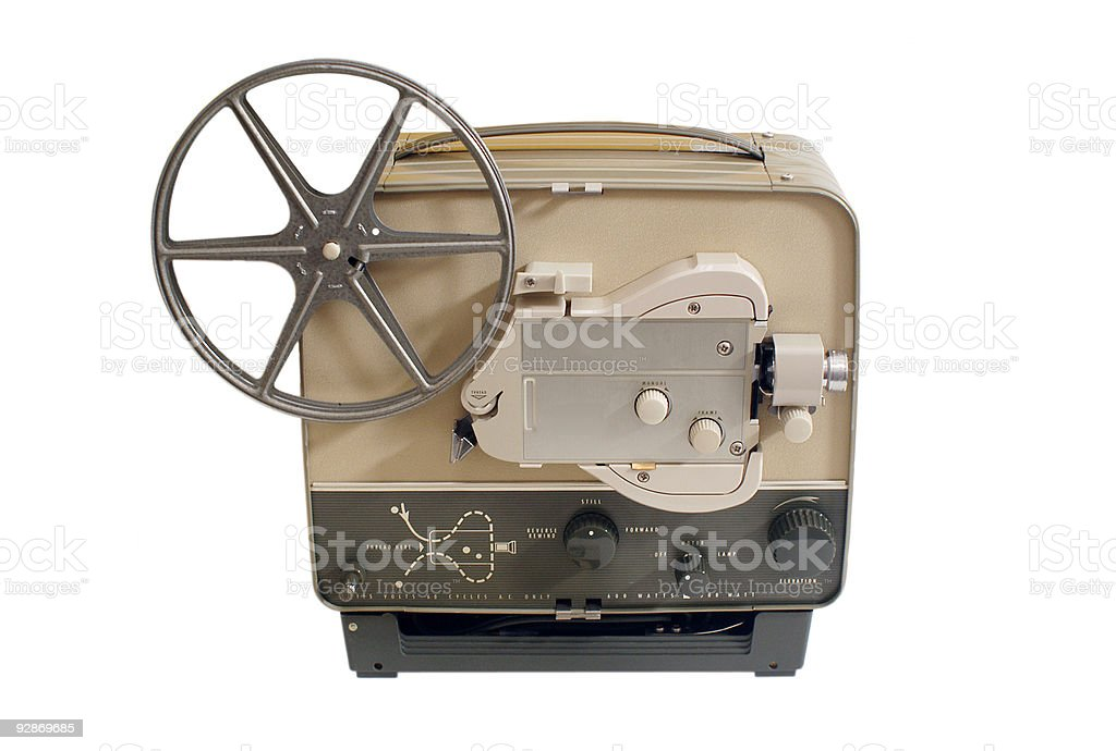 Vintage 8mm Movie Projector on White stock photo