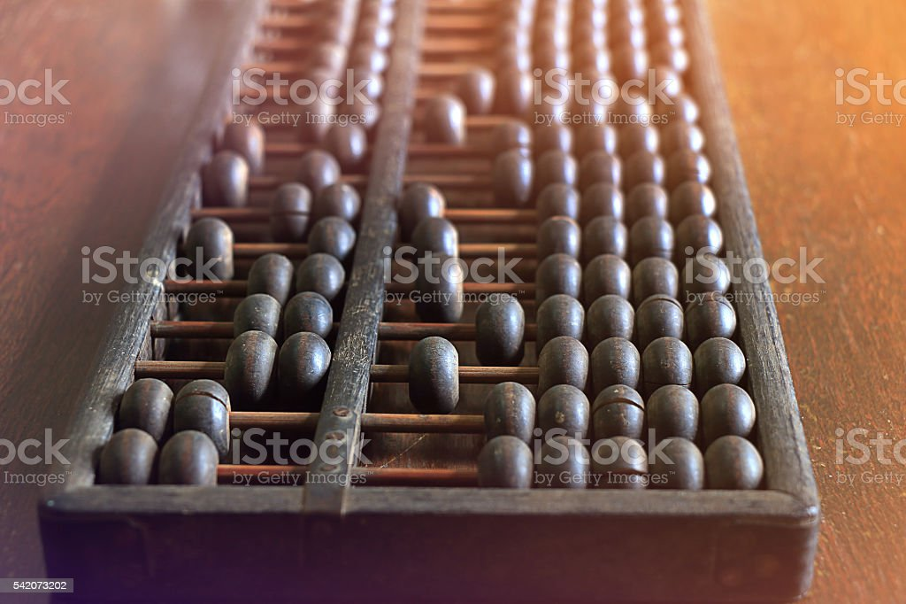 Vintage abacus on wooden background stock photo