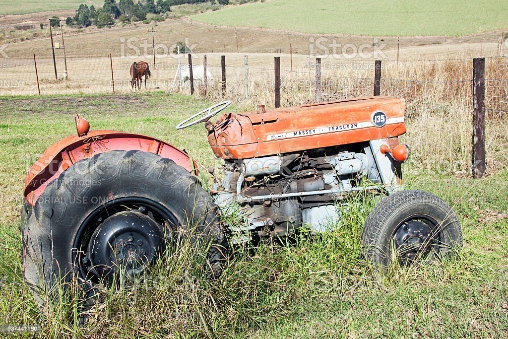 Vintage Abandoned Red Massey Ferguson 135 Tractor and Horses stock photo