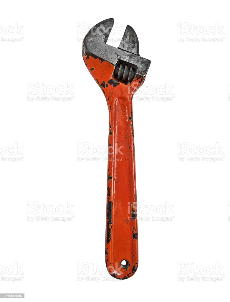vintage adjustable wrench stock photo