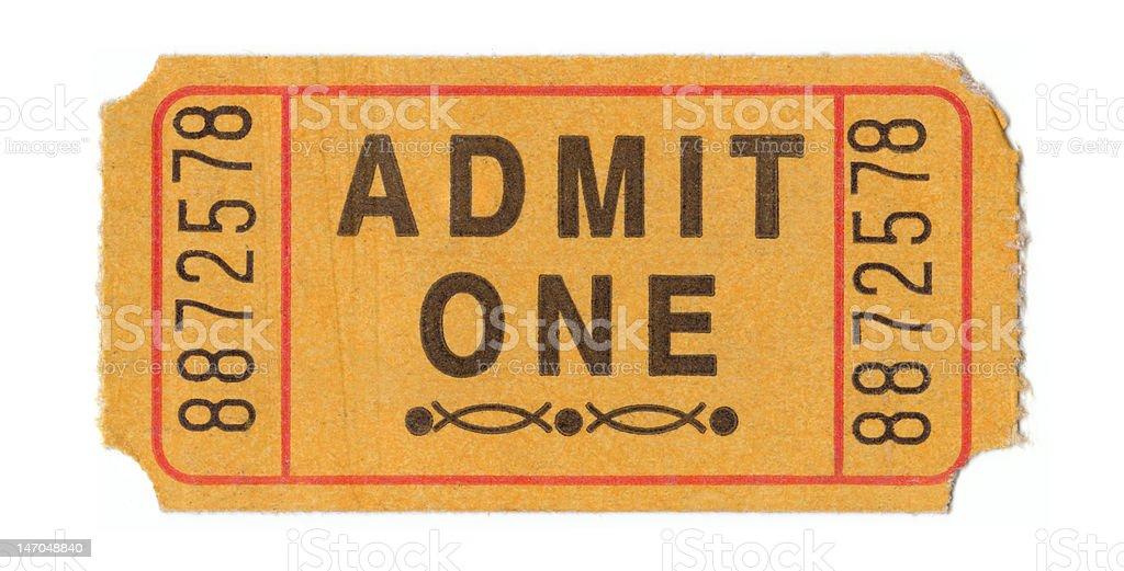 Vintage admission ticket stock photo