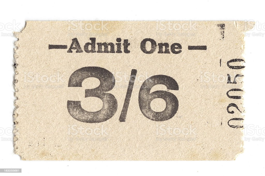 Vintage admission ticket royalty-free stock photo